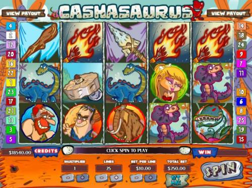 Cashasaurus Review Slots Main game board featuring five reels and 25 paylines with a JACKPOT max payout