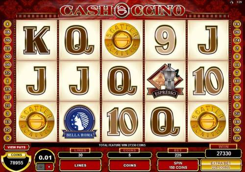 CashOccino Review Slots Main game board featuring five reels and 30 paylines with a $10,000 max payout