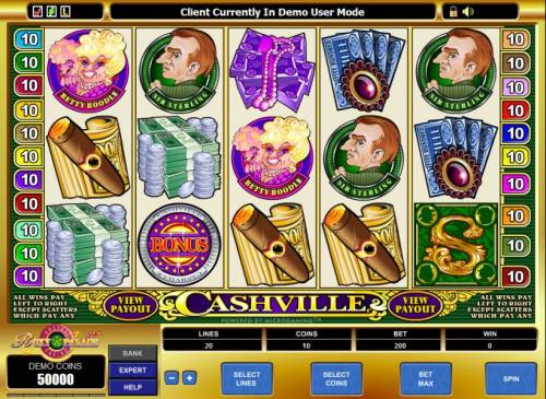Cashville Review Slots main game board featuring 5 reels and 20 paylines
