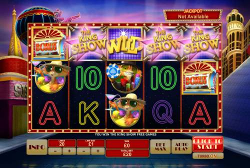 Cat in Vegas Review Slots The King Show Free Games Feature is triggered.