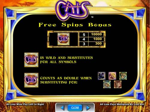 Cats Review Slots Free spins bonus paytable