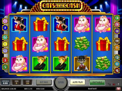 Cats and Cash Review Slots three gift box symbols triggers bonus feature