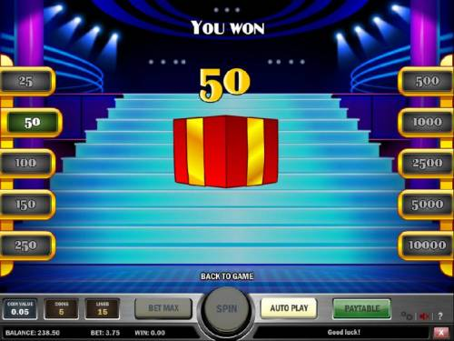 Cats and Cash Review Slots prize award was 50 coins