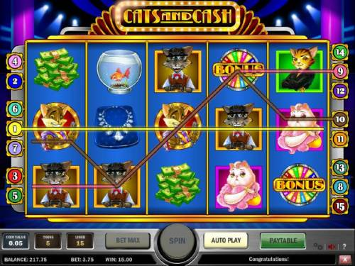 Cats and Cash Review Slots multiple winning paylines triggers a 15 coin jackpot