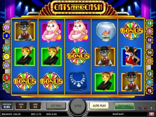 Cats and Cash Review Slots three bonus symbols on winning payline triggers the bonus feature