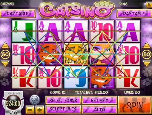 Catsino Review Slots Main game board featuring five reels and 50 paylines with a $3.125 max payout