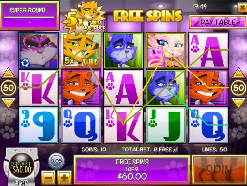 Catsino Review Slots Multiple winning paylines triggered during the Free Spins feature.