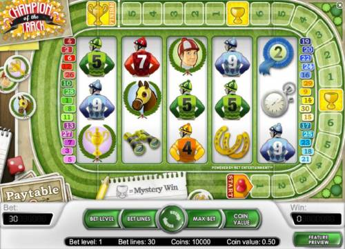 Champion Of The Track Review Slots main game board featuring five reels and thirty paylines