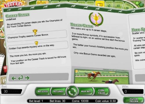 Champion Of The Track Review Slots career bonus and bonus feature game rules
