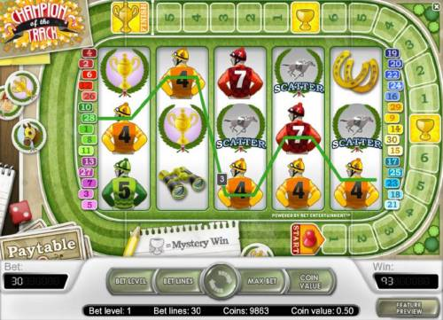 Champion Of The Track Review Slots three scatter symbols triggers 10 free spins