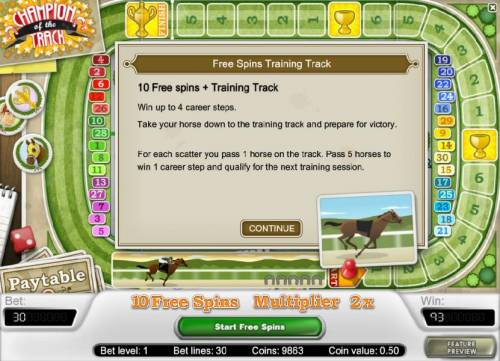 Champion Of The Track Review Slots free spins training track - feature rules and how to play