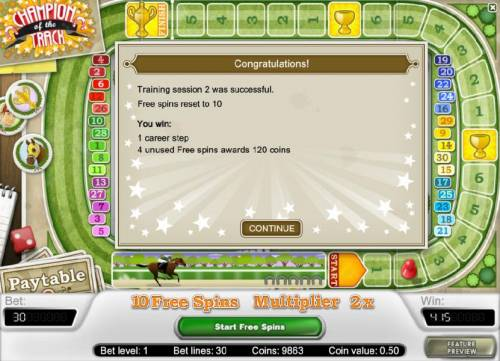 Champion Of The Track Review Slots you have completed another training session and the free spins has been reset to 10