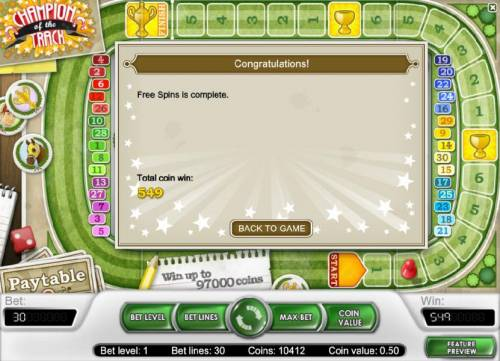 Champion Of The Track Review Slots after the third and final race the total win was 549 coins paid out during the free spins feature