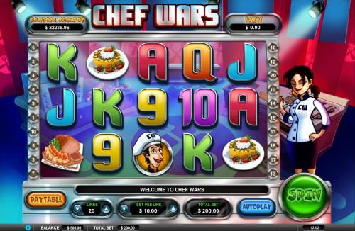 Chef Wars Review Slots Main game board featuring five reels and 20 paylines with a $5,000 max payout