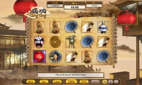 Cheng Gong Review Slots Main game board featuring five reels and 25 paylines with a $31,250 max payout.