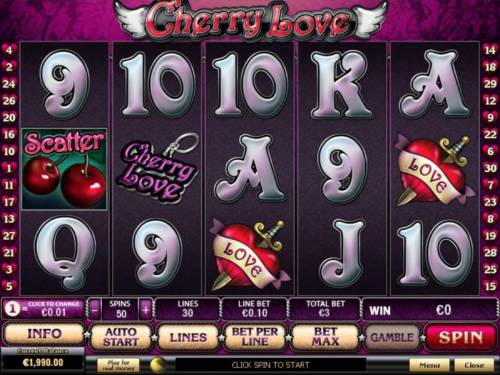 Cherry Love Review Slots Main game board featuring five reels and 30 paylines with a $20,000 max payout