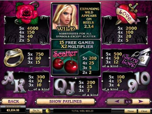 Cherry Love Review Slots Slot game symbols paytable