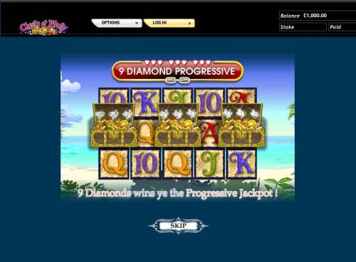 Chests of Plenty Review Slots Revealing 9 Diamonds wins you the Progressive Jackpot.