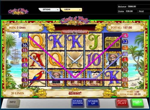 Chests of Plenty Review Slots A trio of paylines triggers a 157.00 payout.
