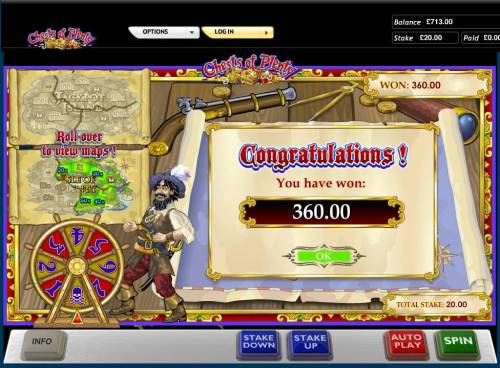 Chests of Plenty Review Slots Bonus feature pays out a total of 360.00