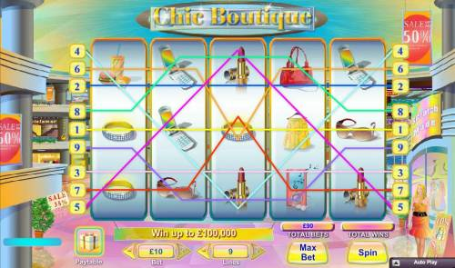 Chic Boutique Review Slots Main game board featuring five reels and 9 paylines with a $100,000 max payout