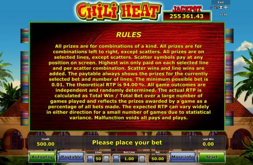 Chili Heat Review Slots General Game Rules