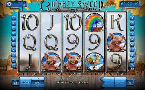 Chimney Sweep Review Slots Main game board featuring five reels and 10 paylines with a $900,000 max payout