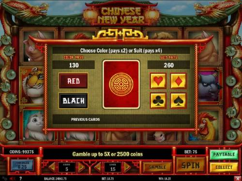 Chinese New year Review Slots Gamble feature is available after each winning spin. Select color or suit to play.