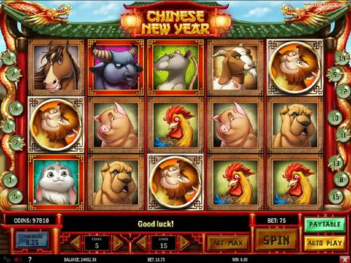 Chinese New year Review Slots Three monkey scattered symbols triggers the free spins feature.