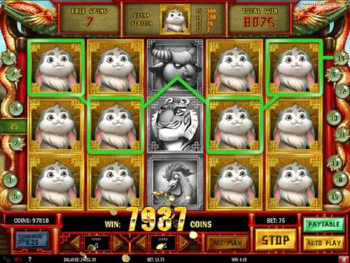 Chinese New year Review Slots A big win triggered by multiple winning paylines during the free spins feature.