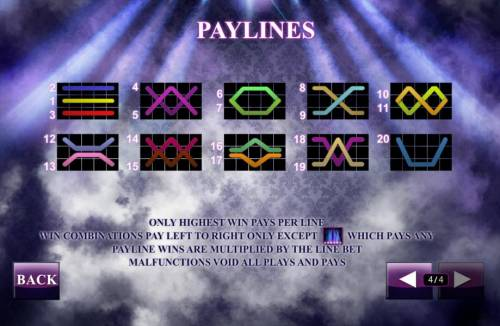 Chippendales Review Slots Payline Diagrams 1-20. Only the highest win per bet line. Win combinations pay left to right only except the scatter symbols which pays any. Payline wins are multiplied by the line bet.