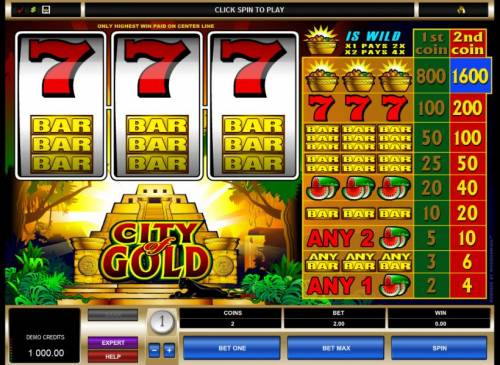 City of Gold Review Slots main game board featuring 3 reels and 1 paylines