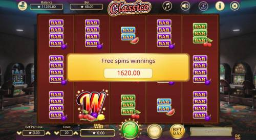 Classico Review Slots Total Free Games Payout 1620 Coins