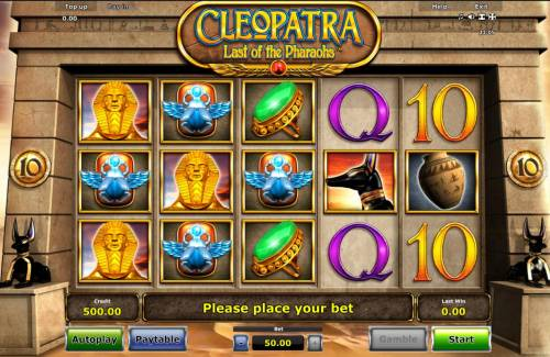 Cleopatra Last of the Pharaohs Review Slots An Egyptian queen themed main game board featuring five reels and 10 paylines with a $187,500 max payout