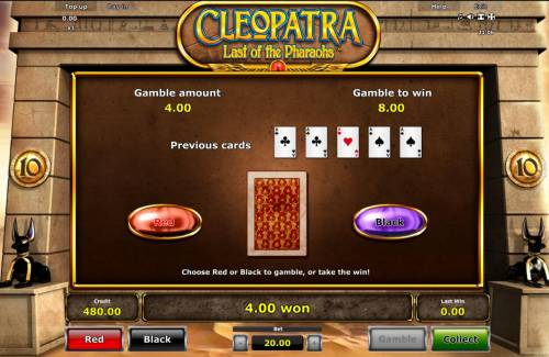 Cleopatra Last of the Pharaohs Review Slots Gamble Feature - To gamble any win press Gamble then select Red or Black.
