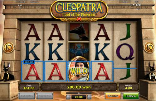 Cleopatra Last of the Pharaohs Review Slots A winning Four of a Kind.
