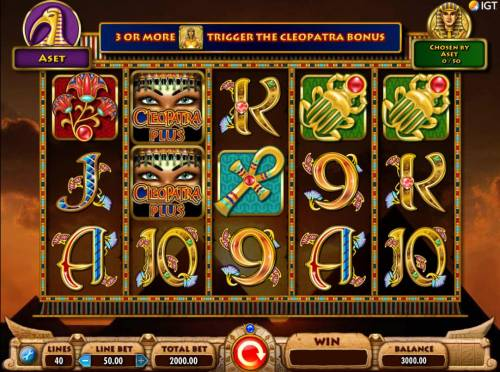 Cleopatra Plus Review Slots Main game board featuring five reels and 40 paylines with a $250,000 max payout