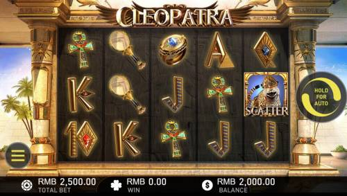 Cleopatra Review Slots Main game board featuring five reels and 50 paylines with a $250,000 max payout.