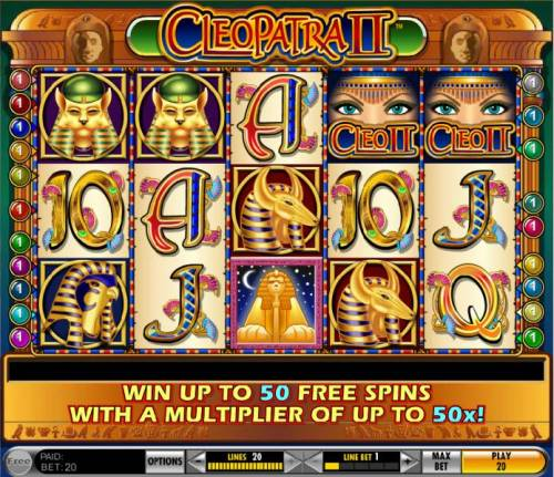 Cleopatra II Review Slots main game board featuring five reels and twenty paylines