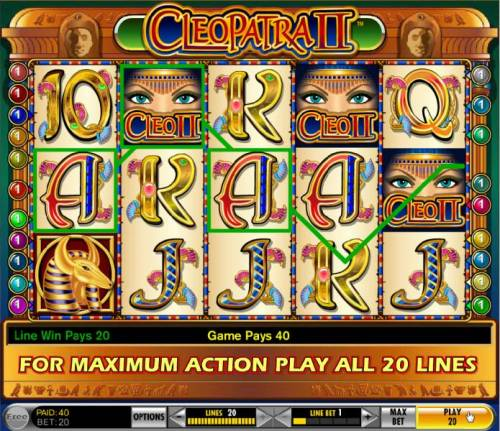 Cleopatra II Review Slots a couple of winning paylines triggers a 40 coin payout