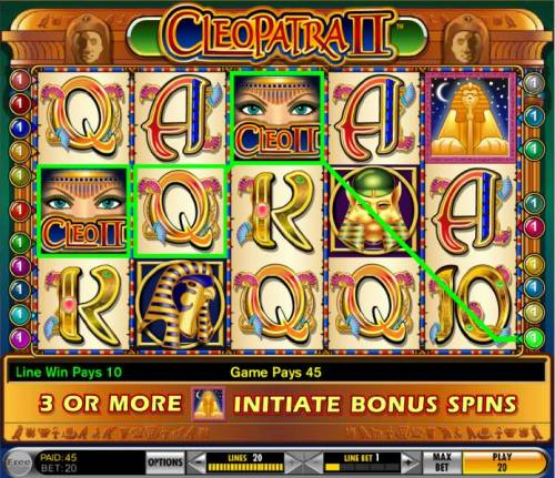 Cleopatra II Review Slots multiple winning paylines