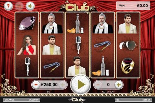 Club Review Slots Main game board featuring five reels and 25 paylines with a $5,000 max payout.