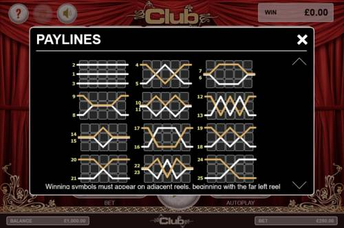 Club Review Slots Payline Diagrams 1-25. Winning symbols must appear on adjacent reels, beginning with the far left reel.