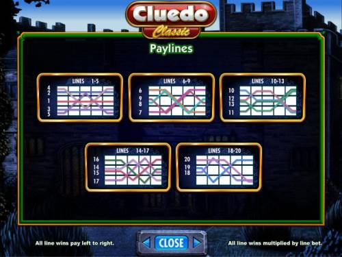 Cluedo - Classic Review Slots payline diagrams