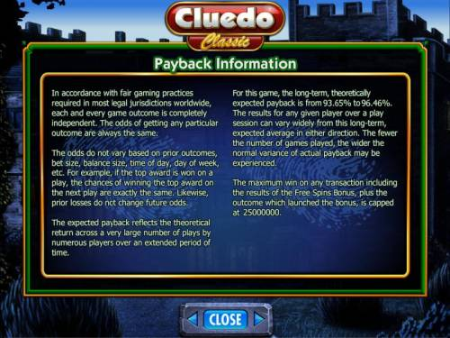 Cluedo - Classic Review Slots payback information