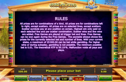 Coin of Apollo Review Slots General Game Rules
