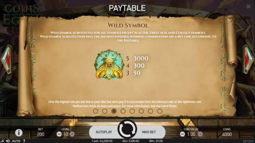 Coins of Egypt Review Slots Wild Symbol Rules