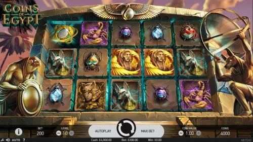 Coins of Egypt Review Slots Main Game Board
