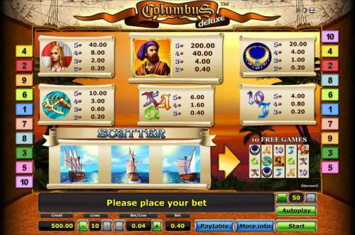 Columbus Deluxe Review Slots slot game symbols paytable.