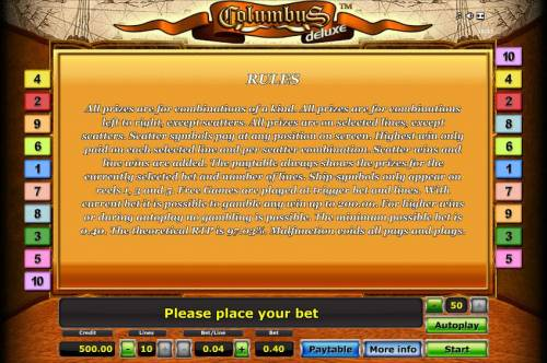 Columbus Deluxe Review Slots general game rules